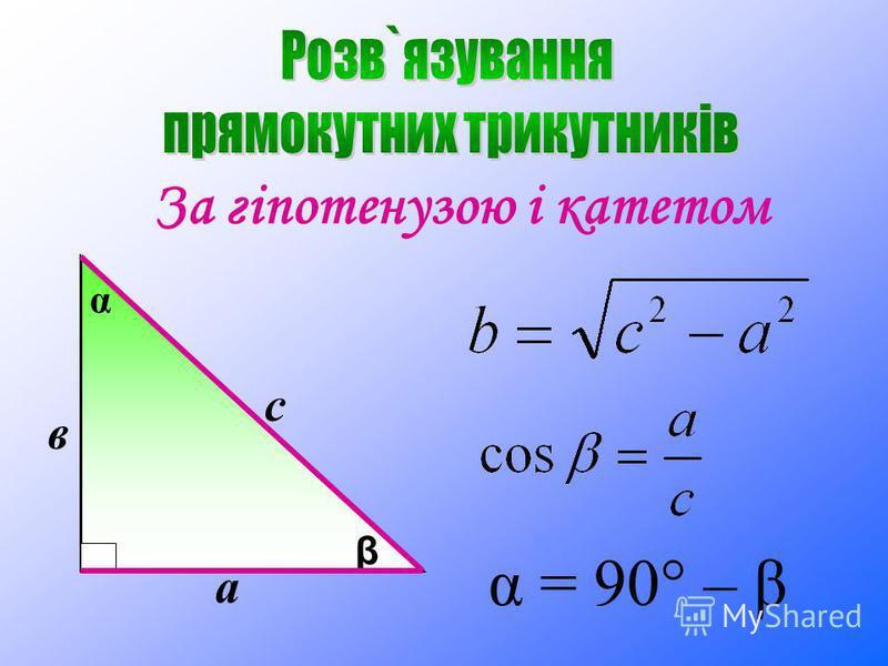 За гіпотенузою і катетом а с β в α α = 90° – β