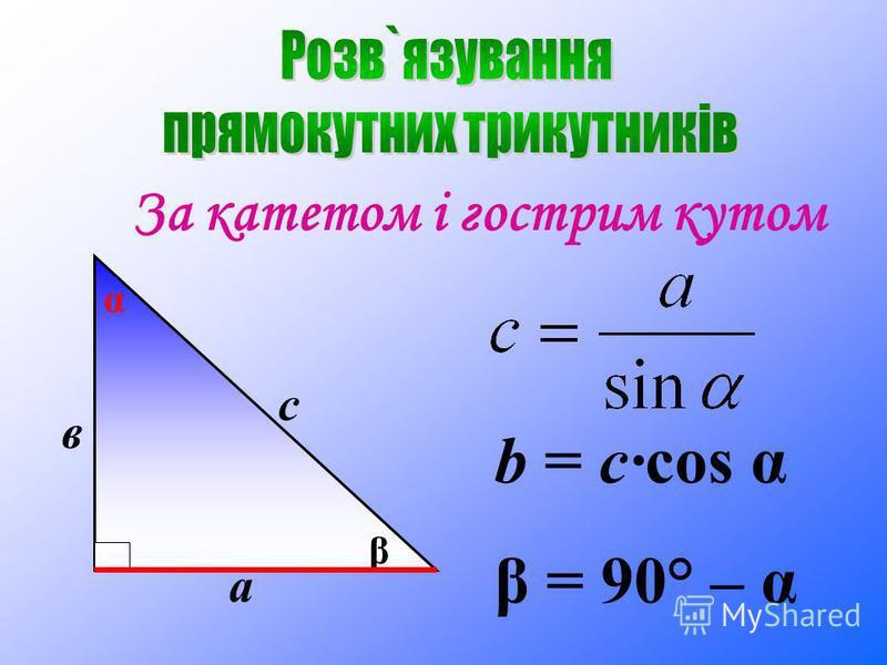 За катетом і гострим кутом а с β в α b = c·cos α β = 90° – α
