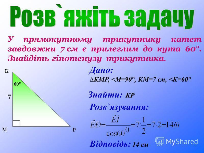 У прямокутному трикутнику катет завдовжки 7 см є прилеглим до кута 60°. Знайдіть гіпотенузу трикутника. Дано: КМР, <М=90°, КМ=7 см, <К=60° Розв`язування: Відповідь: 1 4 см Знайти: КР 60° М К Р 7