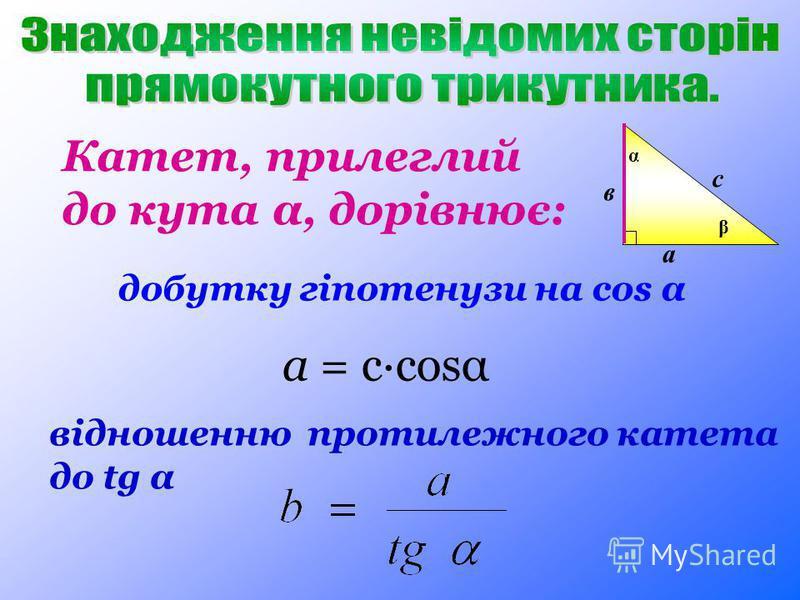 Катет, прилеглий до кута α, дорівнює: добутку гіпотенузи на cos α відношенню протилежного катета до tg α а = c·cosα а в с α β