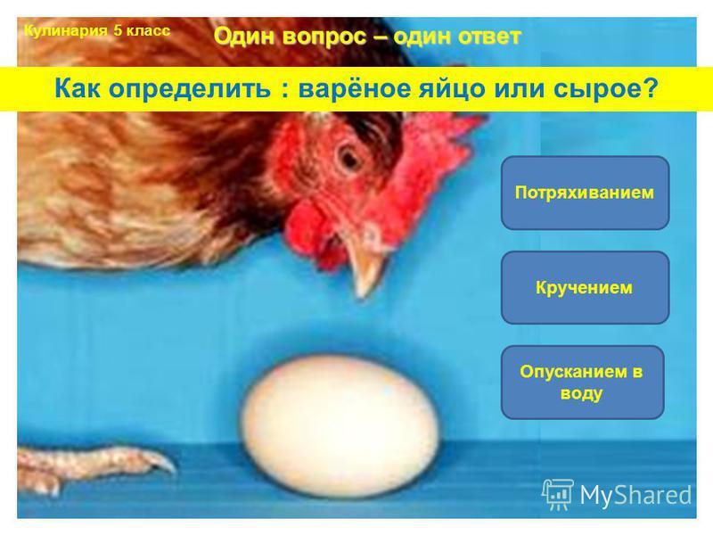 Как определить : варёное яйцо или сырое? Кручением Потряхиванием Опусканием в воду Один вопрос – один ответ Кулинария 5 класс