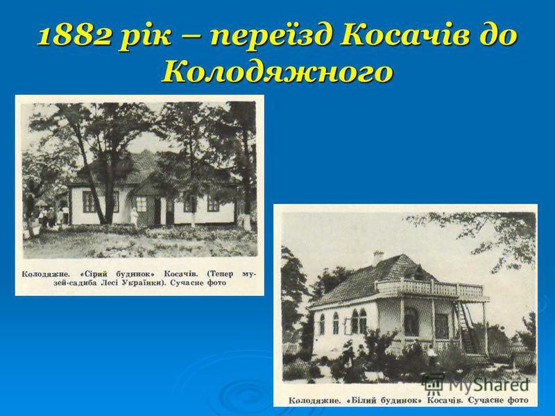 1882 рік – переїзд Косачів до Колодяжного
