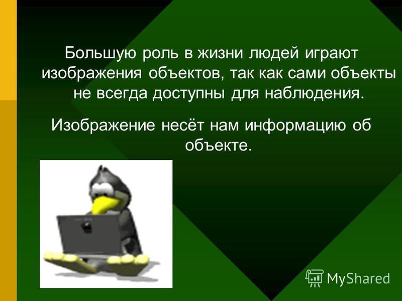 Большую роль в жизни людей играют изображения объектов, так как сами объекты не всегда доступны для наблюдения. Изображение несёт нам информацию об объекте.