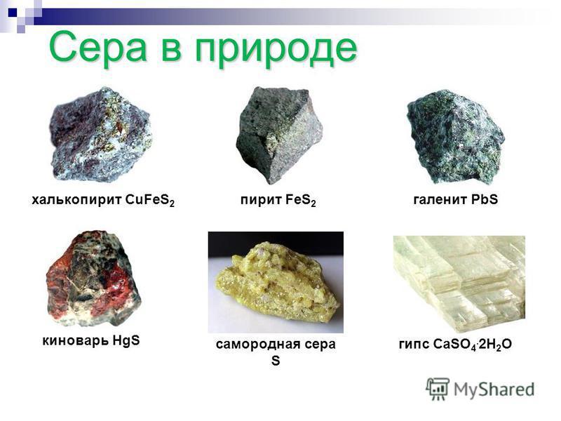 Сера в природе Какие природные соединения, содержащие серу, вам известны? ?