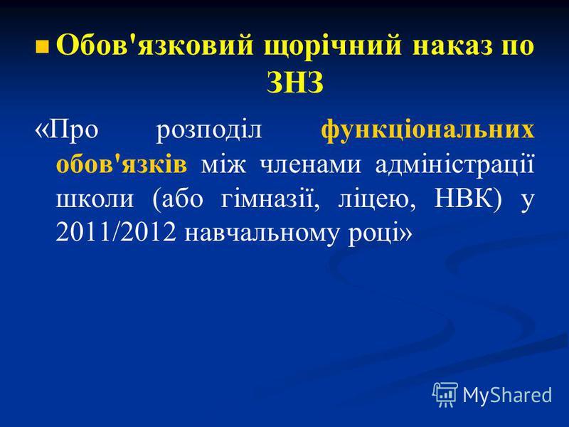 Обов'язковий щорічний наказ по ЗНЗ « Про розподіл функціональних обов'язків між членами адміністрації школи (або гімназії, ліцею, НВК) у 2011/2012 навчальному році»
