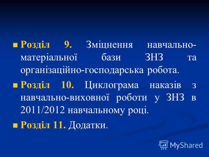 Розділ 9. Зміцнення навчально- матеріальної бази ЗНЗ та організаційно-господарська робота. Розділ 10. Циклограма наказів з навчально-виховної роботи у ЗНЗ в 2011/2012 навчальному році. Розділ 11. Додатки.