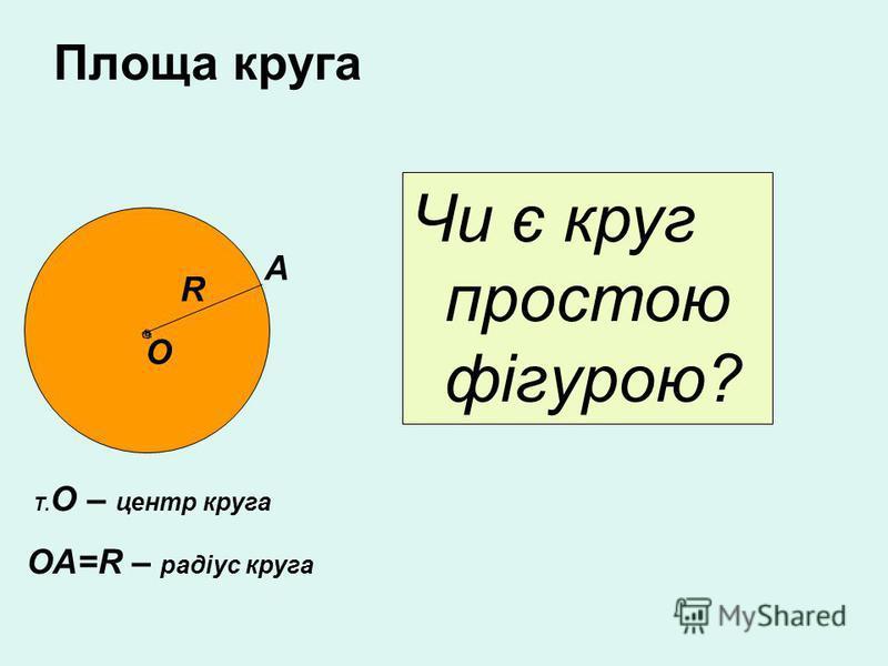 Площа круга Чи є круг простою фігурою? О R Т. О – центр круга ОА=R – радіус круга А