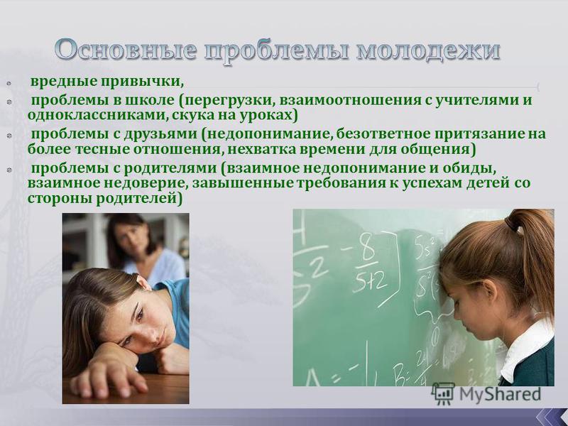 вредные привычки, проблемы в школе (перегрузки, взаимоотношения с учителями и одноклассниками, скука на уроках) проблемы с друзьями (недопонимание, безответное притязание на более тесные отношения, нехватка времени для общения) проблемы с родителями