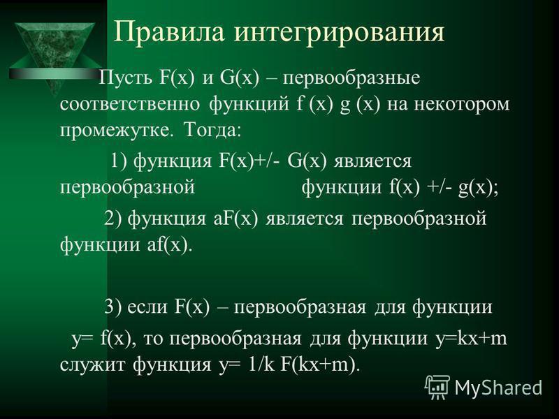 Правила интегрирования Пусть F(x) и G(x) – первообразные соответственно функций f (x) g (x) на некотором промежутке. Тогда: 1) функция F(x)+/- G(x) является первообразной функции f(x) +/- g(x); 2) функция aF(x) является первообразной функции af(x). 3