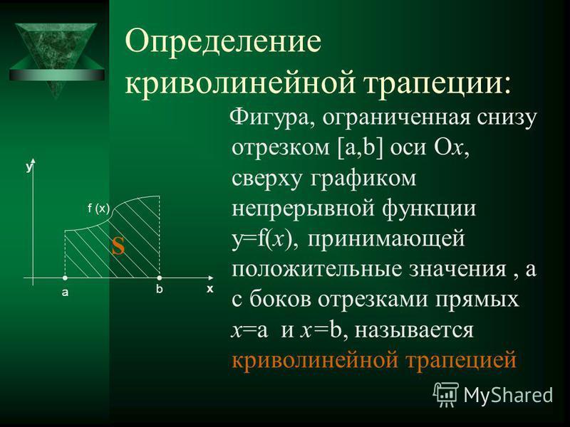 Определение криволинейной трапеции: Фигура, ограниченная снизу отрезком [а,b] оси Ох, сверху графиком непрерывной функции y=f(x), принимающей положительные значения, а с боков отрезками прямых x=a и x=b, называется криволинейной трапецией y x a b f (