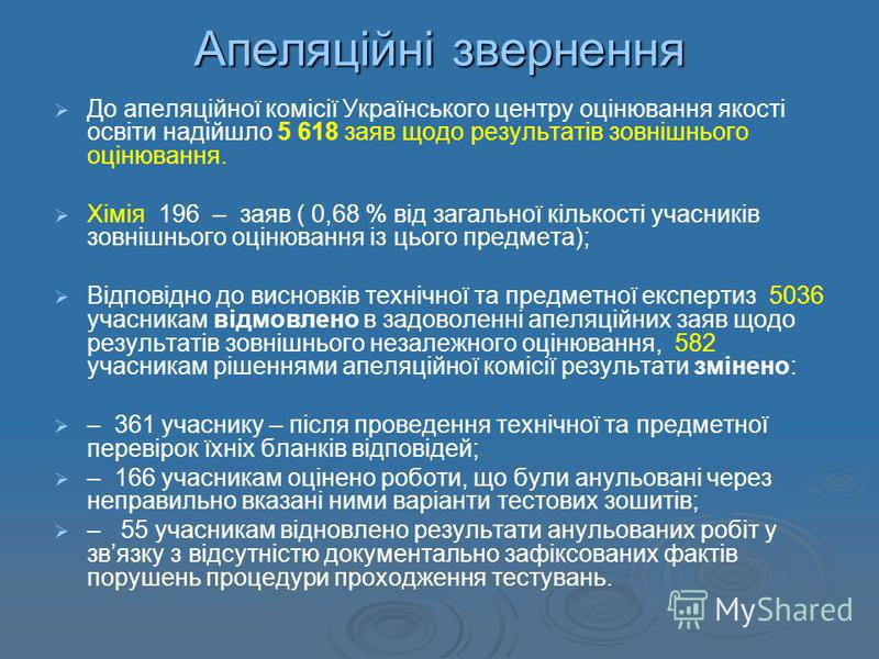 Апеляційні звернення До апеляційної комісії Українського центру оцінювання якості освіти надійшло 5 618 заяв щодо результатів зовнішнього оцінювання. Хімія 196 – заяв ( 0,68 % від загальної кількості учасників зовнішнього оцінювання із цього предмета