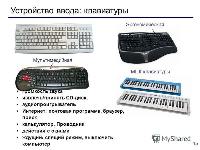 15 Устройство ввода: клавиатуры MIDI-клавиатуры Эргономическая Мультимедийная громкость звука извлечь/принять CD-диск; аудио проигрыватель Интернет: почтовая программа, браузер, поиск калькулятор, Проводник действия с окнами ждущий/ спящий режим, вык