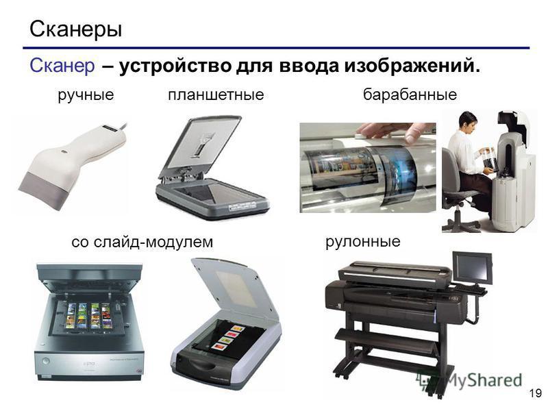 19 Сканеры со слайд-модулем Сканер – устройство для ввода изображений. барабанные планшетные рулонные ручные