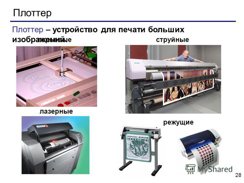 28 Плоттер Плоттер – устройство для печати больших изображений. перьевые струйные лазерные режущие