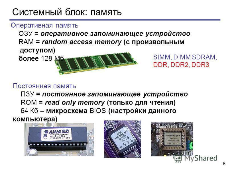 8 Системный блок: память SIMM, DIMM SDRAM, DDR, DDR2, DDR3 Оперативная память ОЗУ = оперативное запоминающее устройство RAM = random access memory (с произвольным доступом) более 128 Мб Постоянная память ПЗУ = постоянное запоминающее устройство ROM =