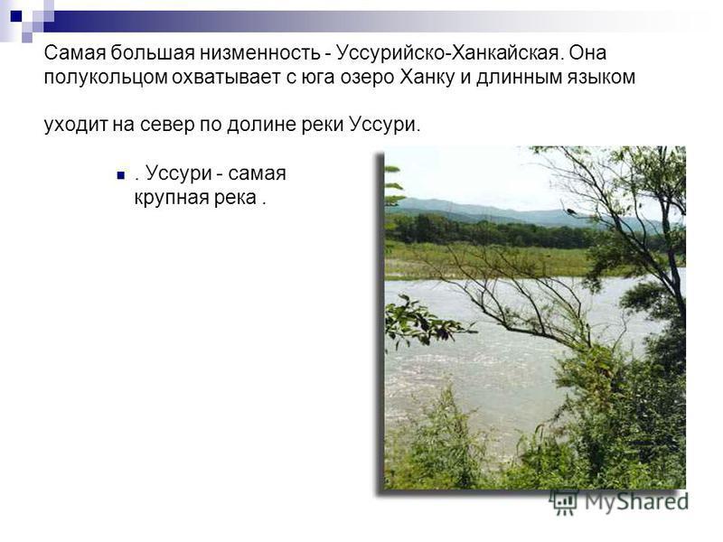 Самая большая низменность - Уссурийско-Ханкайская. Она полукольцом охватывает с юга озеро Ханку и длинным языком уходит на север по долине реки Уссури.. Уссури - самая крупная река.