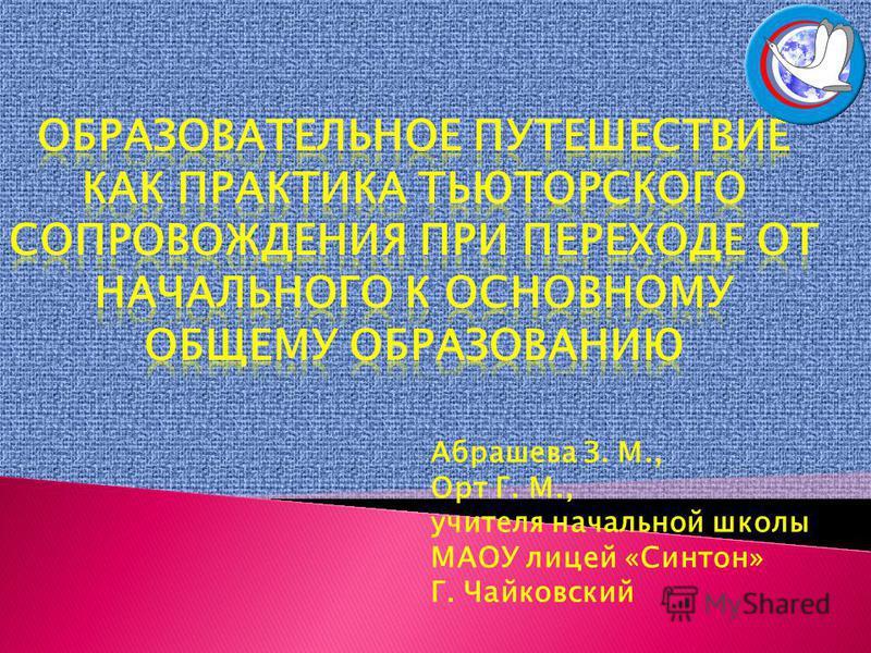 Абрашева З. М., Орт Г. М., учителя начальной школы МАОУ лицей «Синтон» Г. Чайковский