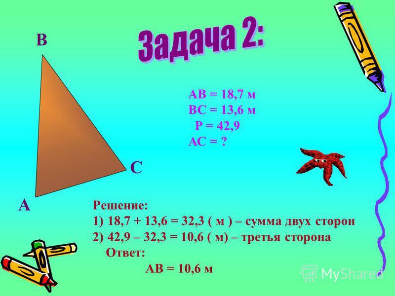 А В С АВ = 18,7 м ВС = 13,6 м Р = 42,9 АС = ? Решение: 1)18,7 + 13,6 = 32,3 ( м ) – сумма двух сторон 2)42,9 – 32,3 = 10,6 ( м) – третья сторона Ответ: АВ = 10,6 м