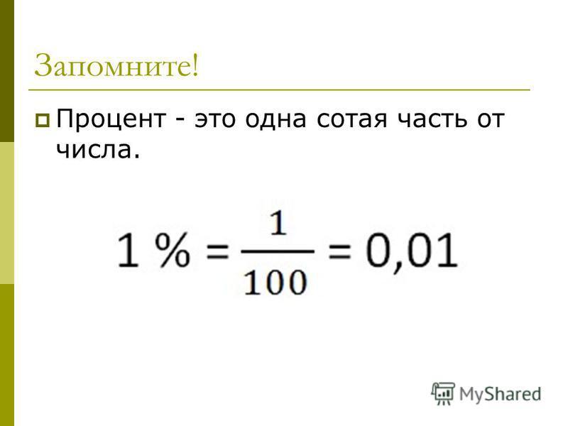 Запомните! Процент - это одна сотая часть от числа.