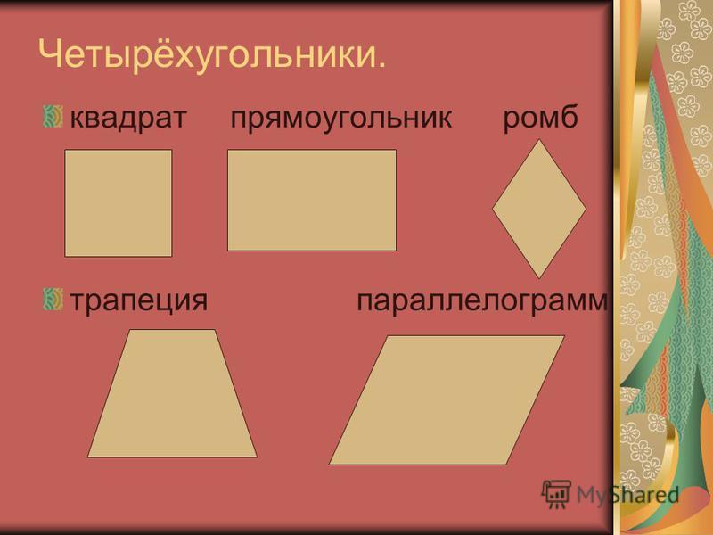 Четырёхугольники. квадрат прямоугольник ромб трапеция параллелограмм