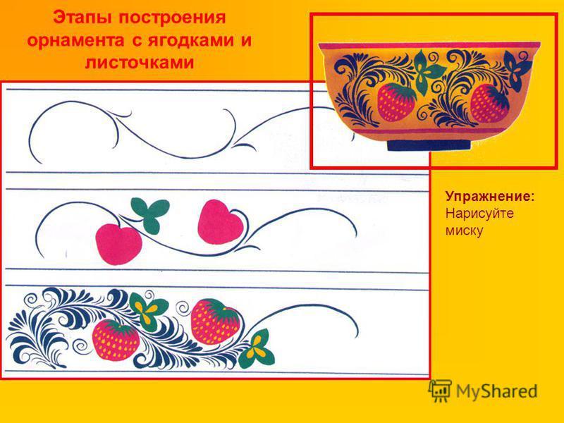 Этапы построения орнамента с ягодками и листочками Упражнение: Нарисуйте миску