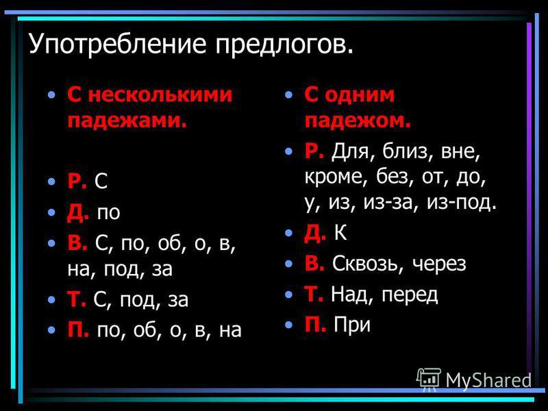 Употребление предлогов. С несколькими падежами. Р. С Д. по В. С, по, об, о, в, на, под, за Т. С, под, за П. по, об, о, в, на С одним падежом. Р. Для, близ, вне, кроме, без, от, до, у, из, из-за, из-под. Д. К В. Сквозь, через Т. Над, перед П. При