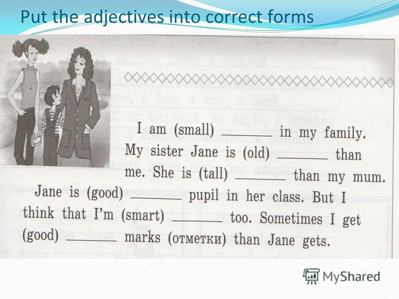 Put the adjectives into correct forms