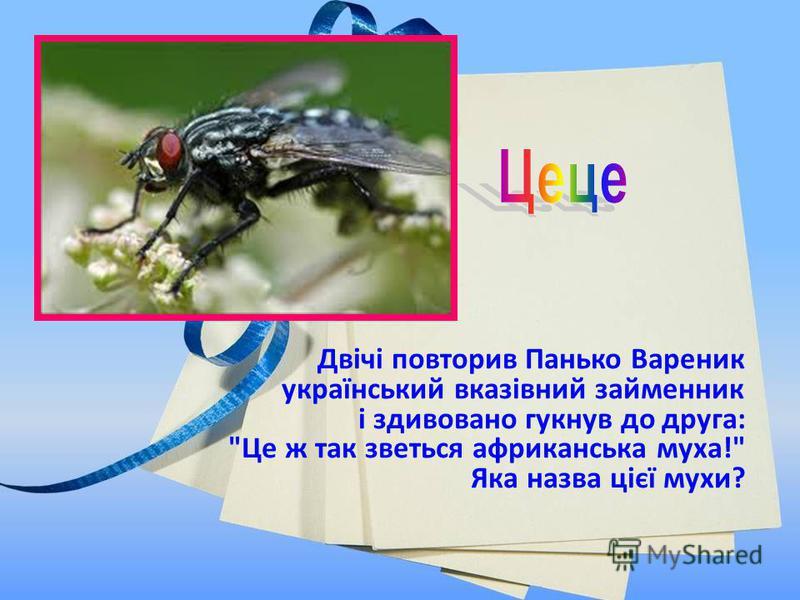 Двічі повторив Панько Вареник український вказівний займенник і здивовано гукнув до друга: Це ж так зветься африканська муха! Яка назва цієї мухи?