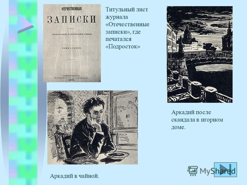 Титульный лист журнала «Отечественные записки», где печатался «Подросток» Аркадий в чайной. Аркадий после скандала в игорном доме.