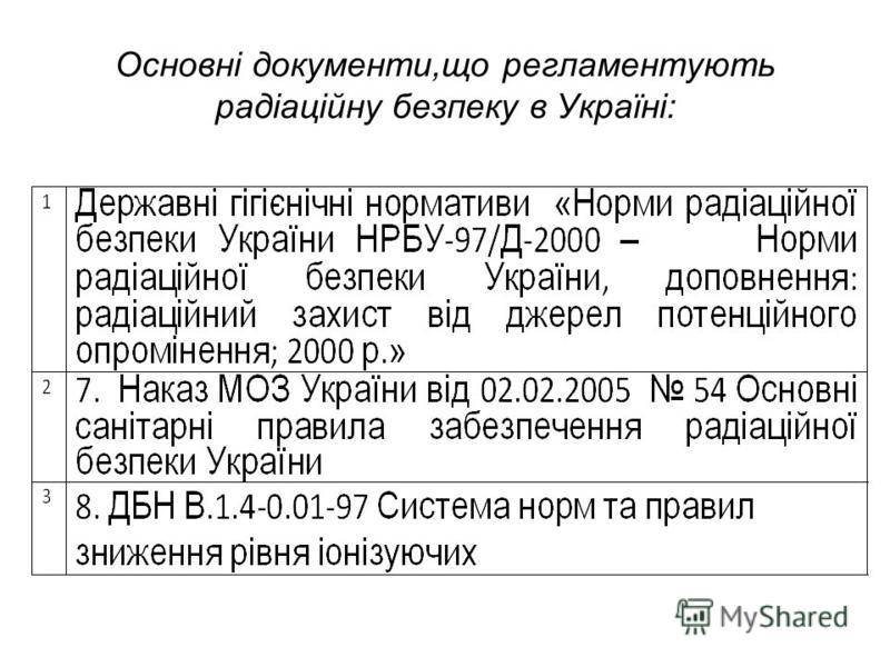 Основні документи,що регламентують радіаційну безпеку в Україні: