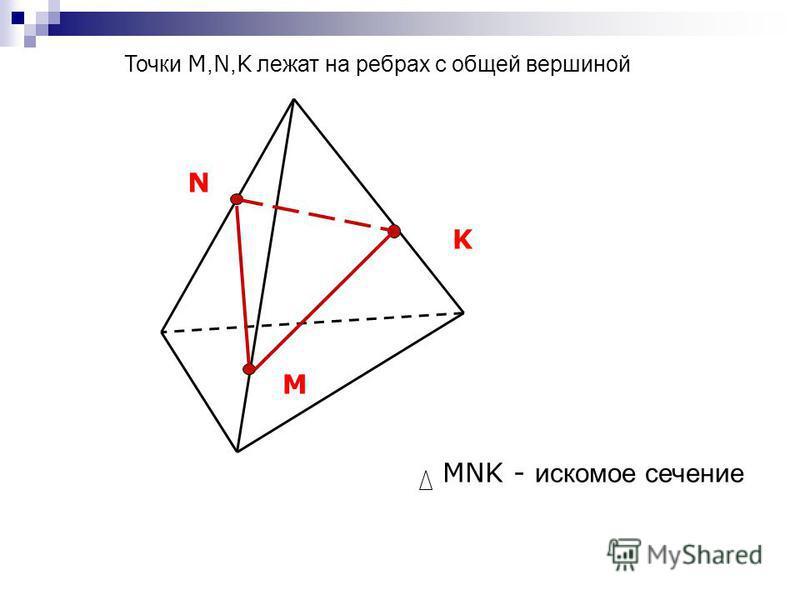 M K N MNK - искомое сечение Точки M, N, K лежат на ребрах с общей вершиной