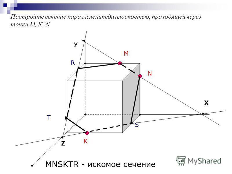 Постройте сечение параллелепипеда плоскостью, проходящей через точки М, К, N М К Т Х N R S У Z MNSKT R - искомое сечение