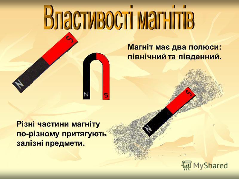 Магніт має два полюси: північний та південний. Різні частини магніту по-різному притягують залізні предмети.