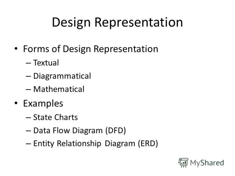 Design Representation Forms of Design Representation – Textual – Diagrammatical – Mathematical Examples – State Charts – Data Flow Diagram (DFD) – Entity Relationship Diagram (ERD)