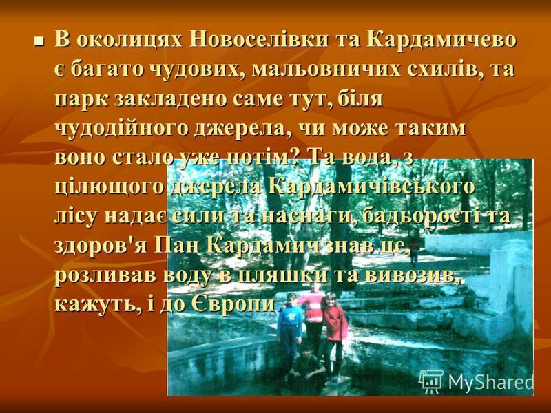 В околицях Новоселівки та Кардамичево є багато чудових, мальовничих схилів, та парк закладено саме тут, біля чудодійного джерела, чи може таким воно стало уже потім? Та вода, з цілющого джерела Кардамичівського лісу надає сили та наснаги, бадьорості