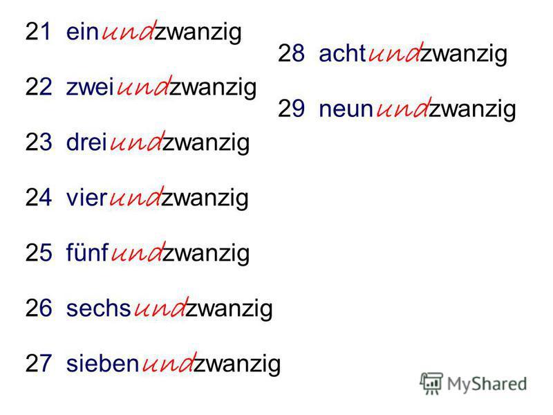 21 ein und zwanzig 22 zwei und zwanzig 23 drei und zwanzig 24 vier und zwanzig 25 fünf und zwanzig 26 sechs und zwanzig 27 sieben und zwanzig 28 acht und zwanzig 29 neun und zwanzig