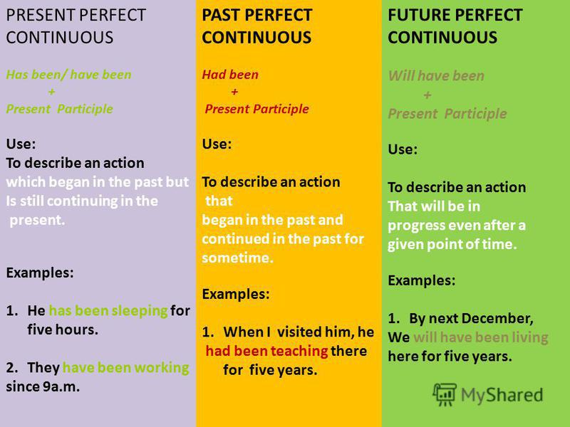 PRESENT PERFECT CONTINUOUS Has been/ have been + Present Participle Use: To describe an action which began in the past but Is still continuing in the present. Examples: 1.He has been sleeping for five hours. 2.They have been working since 9a.m. PAST