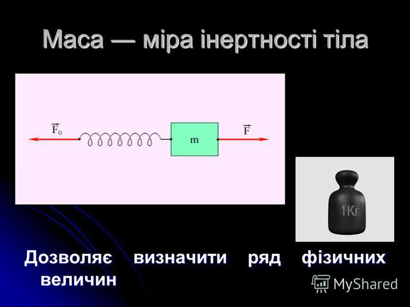 Маса міра інертності тіла Дозволяє визначити ряд фізичних величин