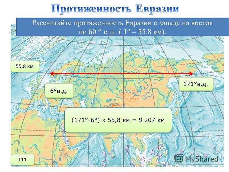 Рассчитайте протяженность Евразии с запада на восток по 60 ° с.ш. ( 1 ° – 55,8 км). 6°в.д. 171°в.д. (171°-6°) х 55,8 км = 9 207 км 55,8 км 111