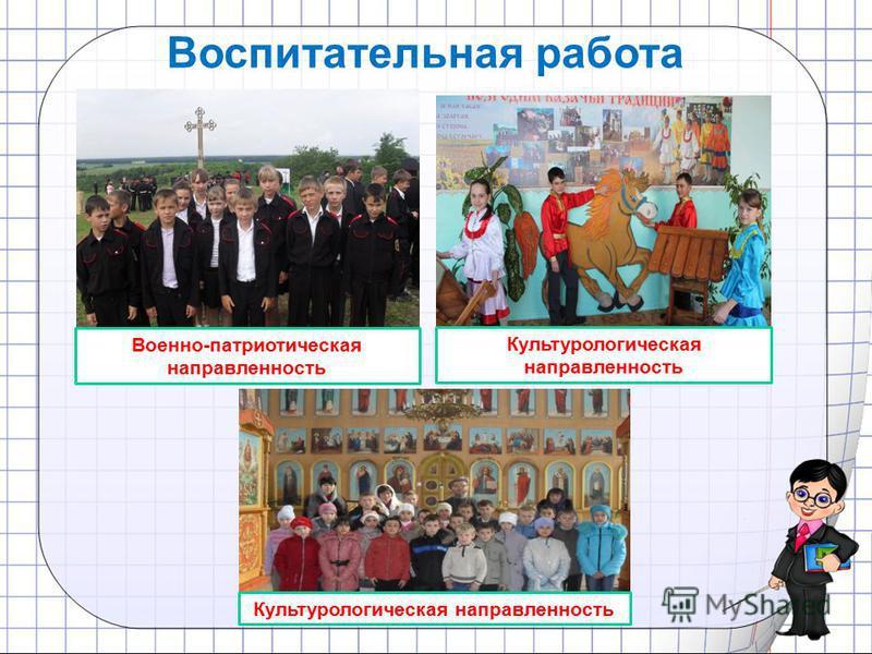 Культурологическая направленность Военно-патриотическая направленность Культурологическая направленность Воспитательная работа