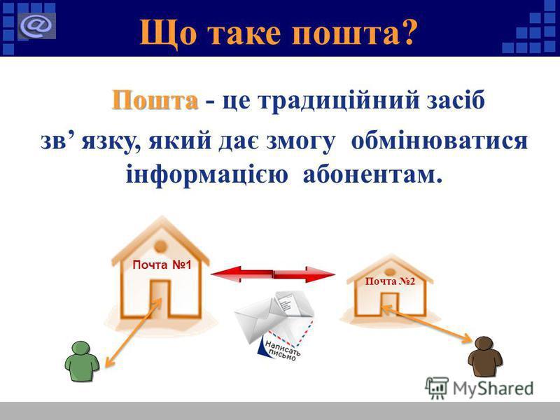 Що таке пошта? Пошта Пошта - це традиційний засіб зв язку, який дає змогу обмінюватися інформацією абонентам. Почта 1 Почта 2