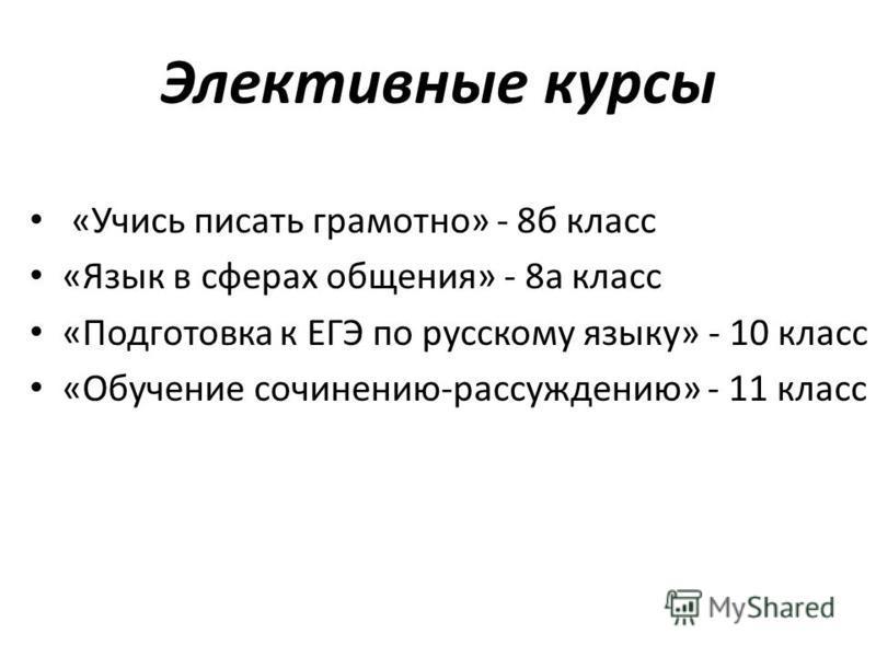 Элективные курсы «Учись писать грамотно» - 8 б класс «Язык в сферах общения» - 8 а класс «Подготовка к ЕГЭ по русскому языку» - 10 класс «Обучение сочинению-рассуждению» - 11 класс