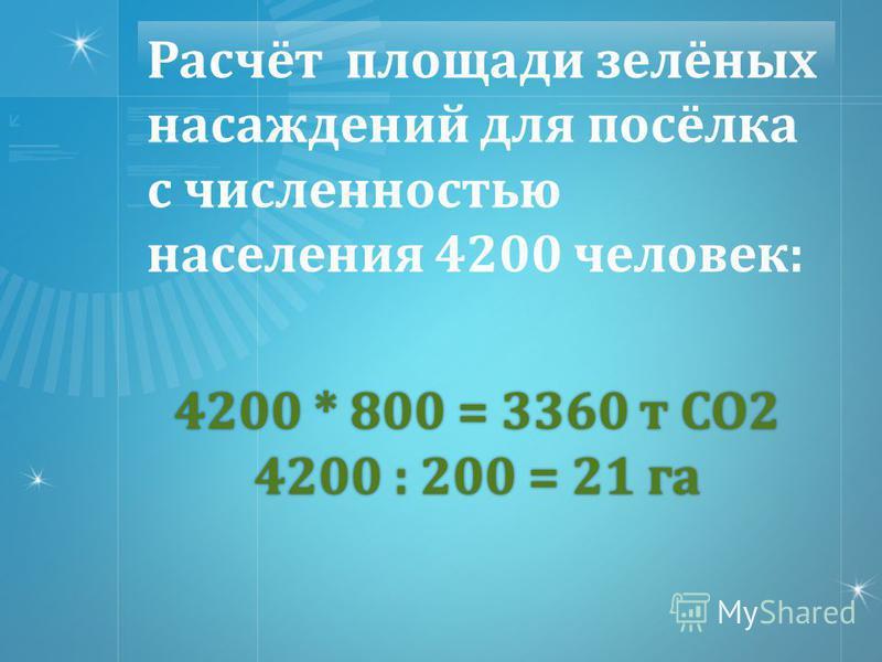 4200 * 800 = 3360 т СО 2 4200 : 200 = 21 га Расчёт площади зелёных насаждений для посёлка с численностью населения 4200 человек :