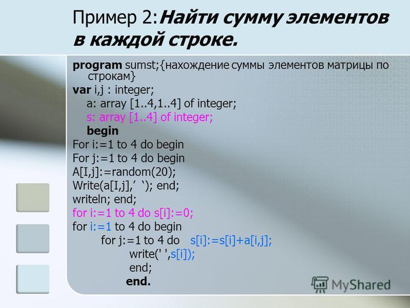 Пример 2:Найти сумму элементов в каждой строке. program sumst;{нахождение суммы элементов матрицы по строкам} var i,j : integer; a: array [1..4,1..4] of integer; s: array [1..4] of integer; begin For i:=1 to 4 do begin For j:=1 to 4 do begin А[I,j]:=