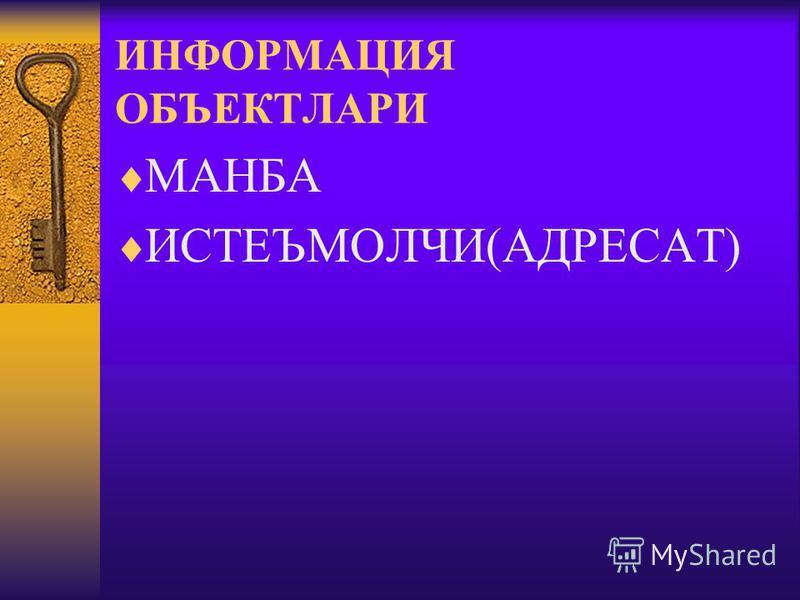 ИНФОРМАЦИЯ ОБЪЕКТЛАРИ МАНБА ИСТЕЪМОЛЧИ(АДРЕСАТ)