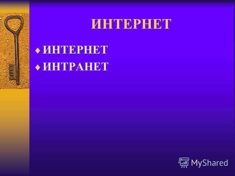 ИНТЕРНЕТ ИНТРАНЕТ
