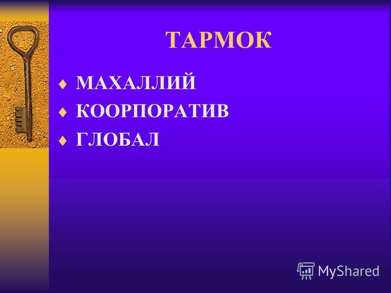 ТАРМОК МАХАЛЛИЙ КООРПОРАТИВ ГЛОБАЛ