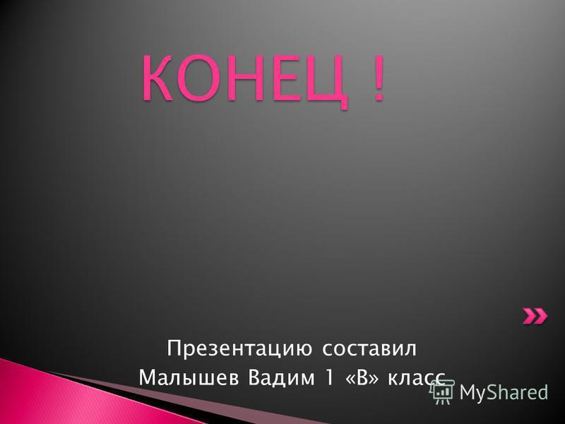 Презентацию составил Малышев Вадим 1 «В» класс КОНЕЦ ! КОНЕЦ !