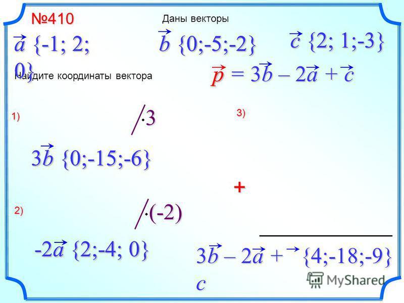 + Даны векторы(-2) 3 410410 a {-1; 2; 0} b {0;-5;-2} Найдите координаты вектора c {2; 1;-3} p = 3b – 2a + c 1) 3b {0;-15;-6} 2) -2a {2;-4; 0} 3) 3b – 2a + c p{4;-18;-9} b {0;-5;-2} 3b {0;-15;-6} a {-1; 2; 0} -2a {2;-4; 0} c {2; 1;-3}