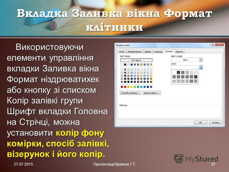 Використовуючи елементи управління вкладки Заливка вікна Формат ніздрюватихек або кнопку зі списком Колір залівкі групи Шрифт вкладки Головна на Стрічці, можна установити колір фону комірки, спосіб залівкі, візерунок і його колір. Вкладка Заливка вік